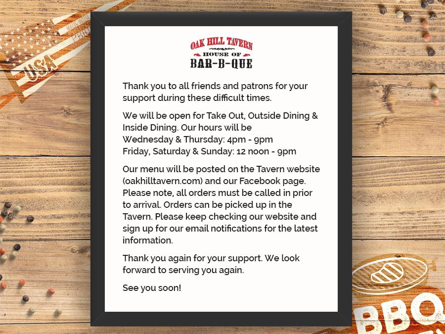 Oak Hill Tavern Re-Opening